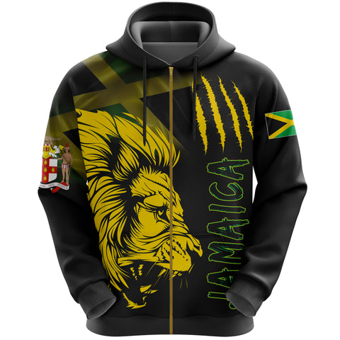 Jamaica Zip-Up Hoodie Lion Coat Of Arms Zipper Hoodie