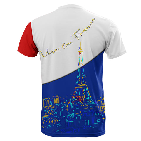 Image of France T-Shirt - Paris Eiffel Flag A65