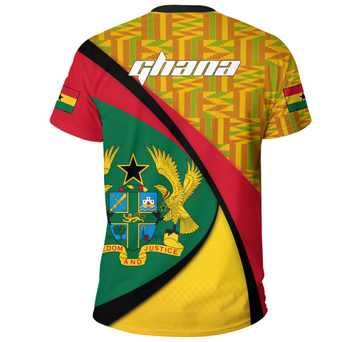 1stTheWorld Ghana T-shirt, Ghana Coat Of Arms Pattern A10