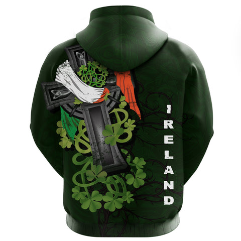 Irish Hoodie Zipper Shamrock Celtic Cross | High Quality | Love The World