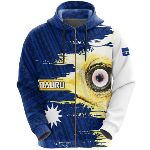 Image of Nauru Hoodie Zipper Polynesian - White Eyes Bird | High Quality | Love The World