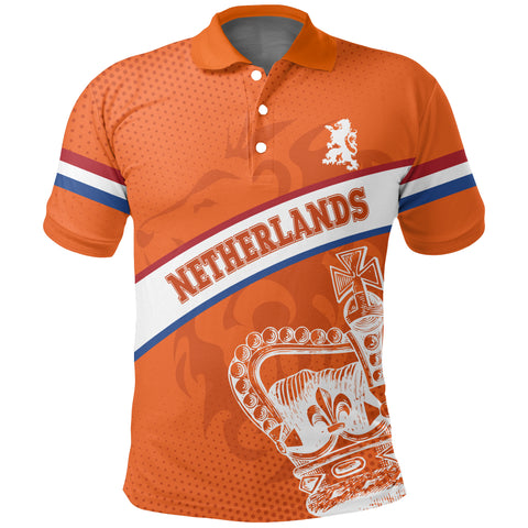 Netherlands Polo Shirt - Netherlands King's Day Lion Crown A10