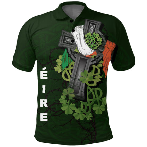 Irish Polo Shirt Shamrock Celtic Cross | High Quality | Love The World