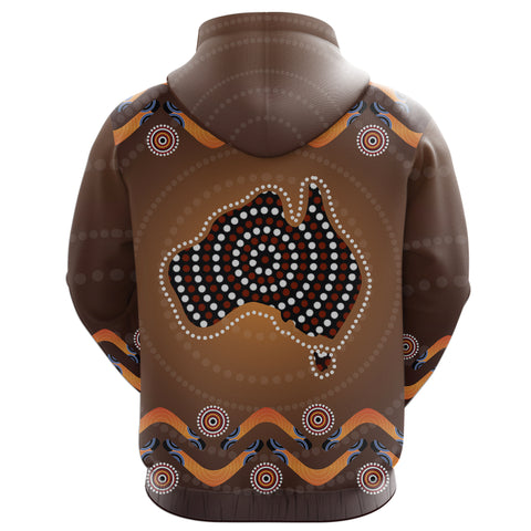 Image of Australia Zip-Up Hoodie Boomerang, Aboriginal Dot With Map Zipper Hoodie TH5