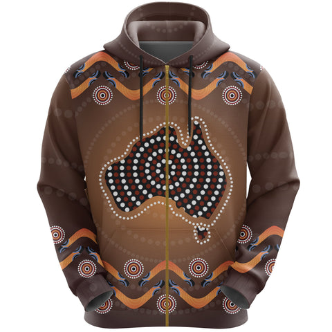 Image of Australia Zip-Up Hoodie Boomerang, Aboriginal Dot With Map Zipper Hoodie