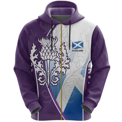 Scotland Hoodie Thistle Mix Flag (Zip)