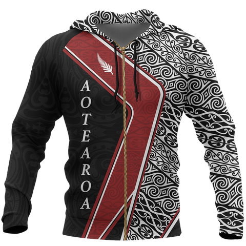 Image of Aotearoa Silver Fern Hoodie Maori Patterns Zip-Up