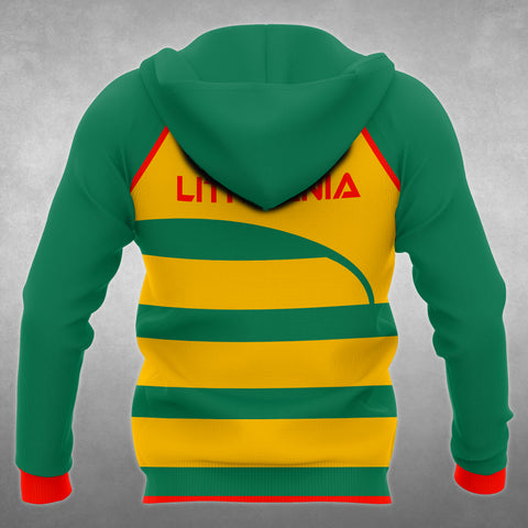 Lithuania Flag Curve All Over Hoodie back