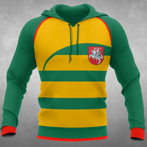 Lithuania Flag Curve All Over Hoodie font