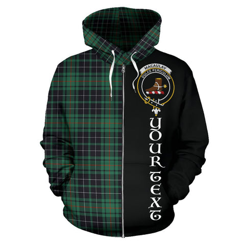 (Custom your text) MacAulay Hunting Ancient Tartan Hoodie Half Of Me | 1sttheworld.com