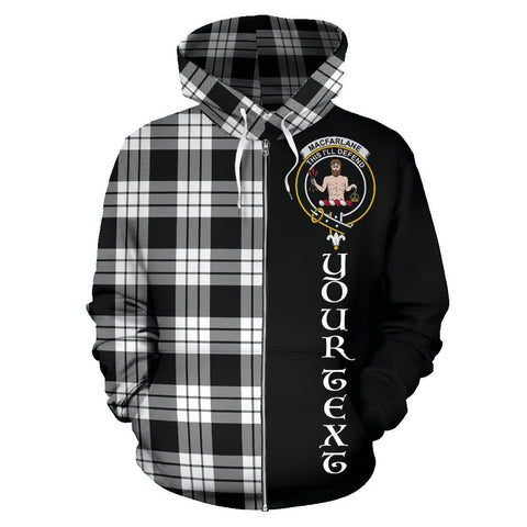 (Custom your text) MacFarlane Black & White Tartan Hoodie Half Of Me | 1sttheworld.com