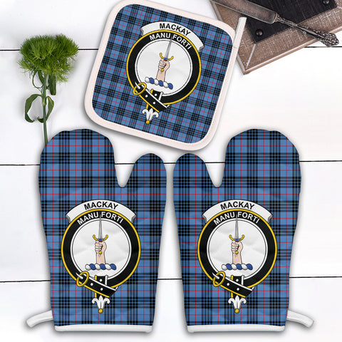 Image of MacKay Blue Clan Crest Tartan Scotland Oven Mitt And Pot-Holder (Set Of Two)