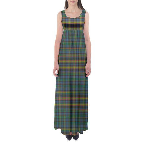 MacLellan Ancient Tartan Empire Waist Maxi Dress HJ6 |Clothing| Love The World