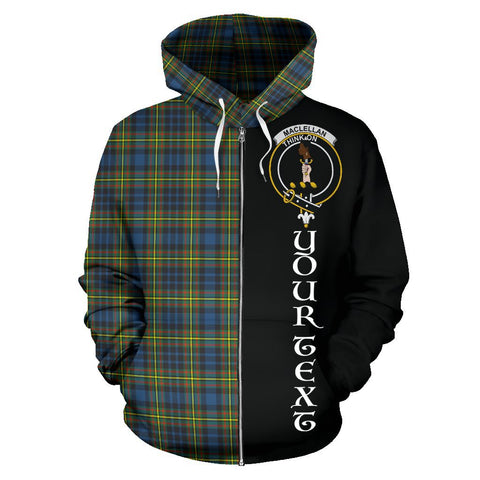 (Custom your text) MacLellan Ancient Tartan Hoodie Half Of Me | 1sttheworld.com