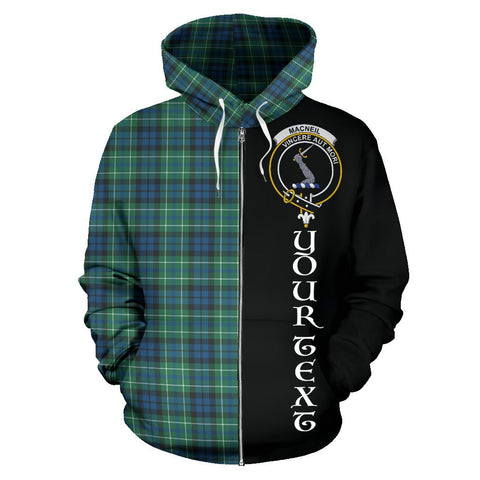 (Custom your text) MacNeill of Colonsay Ancient Tartan Hoodie Half Of Me | 1sttheworld.com