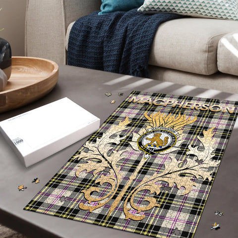 Image of MacPherson Dress Ancient Clan Name Crest Tartan Thistle Scotland Jigsaw Puzzle