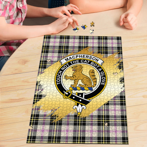 Image of MacPherson Dress Ancient Clan Crest Tartan Jigsaw Puzzle Gold
