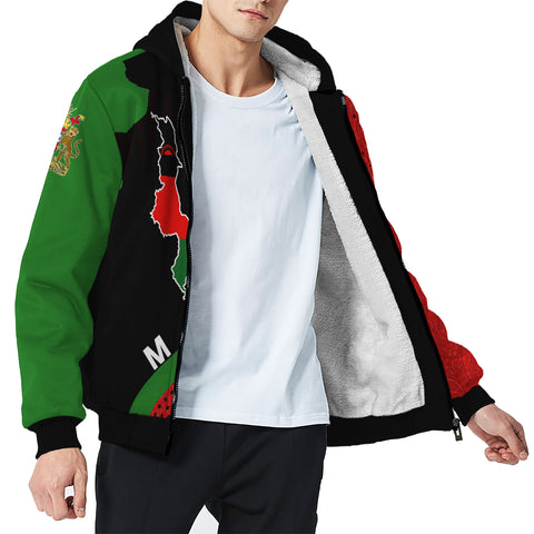 Malawi Sherpa Hoodie - Malawi Map Generation II Sherpa Hoodie - Red and Green - Front - For Men and Women