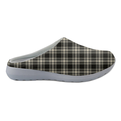 Menzies Black & White Ancient Tartan Back Open Shoes TH8
