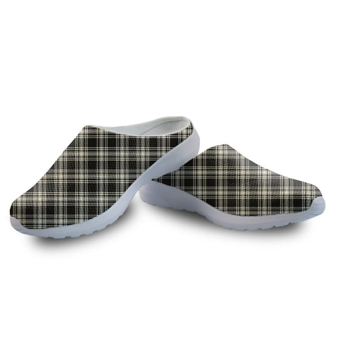Menzies Black & White Ancient Tartan Back Open Shoes | 1sttheworld.com