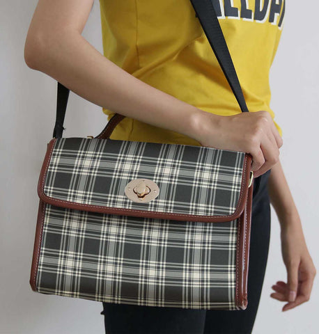 Tartan Bag - Menzies Black - White Ancient Canvas Handbag A9