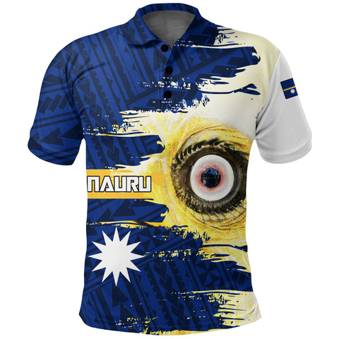 Image of Nauru Polo Shirt Polynesian - White Eyes Bird | High Quality | Love The World