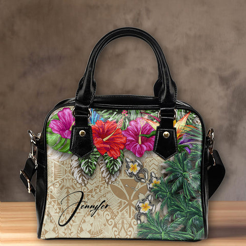 (Custom) Kanaka Maoli (Hawaiian) Shoulder Handbag - Hibiscus Turtle Tattoo Beige Personal Signature A02