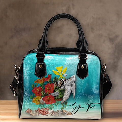 (Custom) Kanaka Maoli (Hawaiian) Leather Tote - Ocean Turtle Hibiscus Personal Signature  A24