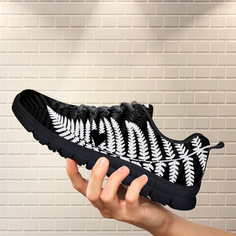 Image of Black Silver Fern New Zealand Sneakers - silver fern, new zealand sneakers, shoes, footwear, online shopping new zealand