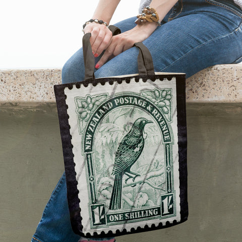 New zealand stamp tote bag 2 - new zealand stamp, tote bag, totes, bag, handbags, accessories, online shopping, new zealand native birds