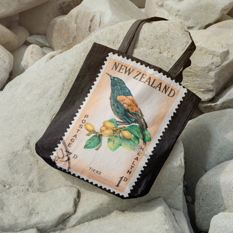 New zealand stamp tote bag 3 - new zealand stamp, tote bag, totes, bag, handbags, accessories, online shopping, new zealand, new zealand native birds