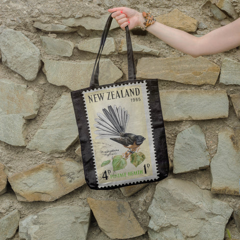 New zealand stamp tote bag 4 - new zealand stamp, tote bag, totes, bag, handbags, accessories, online shopping, new zealand fantail
