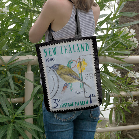 New zealand stamp tote bag 8 - new zealand stamp, tote bag, totes, bag, handbags, accessories, online shopping, new zealand native birds