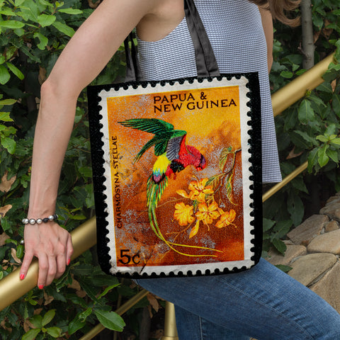 New zealand stamp tote bag 9 - new zealand stamp, tote bag, totes, bag, handbags, accessories, online shopping, new zealand native birds