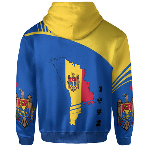 Image of Moldova Zip Up Hoodie - Winner Ultra Edition II - Blue and Yellow - Back - For Men and Women