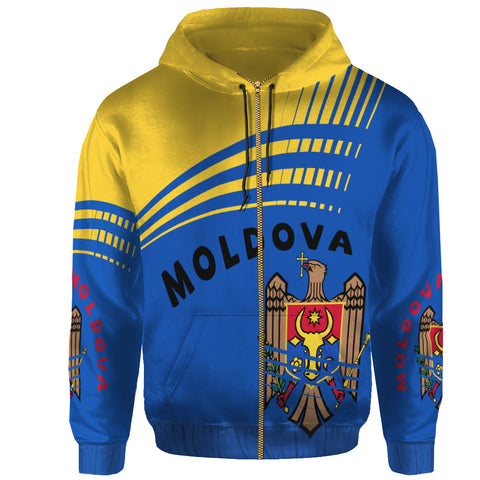 Moldova Zip Up Hoodie - Winner Ultra Edition II - Blue and Yellow - Front - For Men and Women