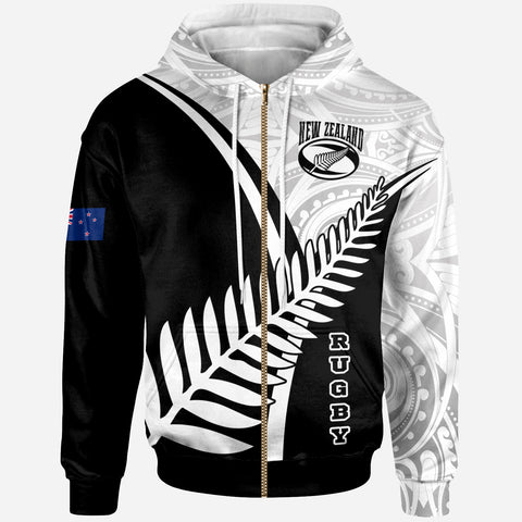 Image of New Zealand Rugby Zip-up Hoodie - New Zealand Fern & Maori Patterns - BN22