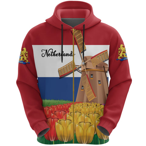 Image of Netherlands Windmill and Tulips Zip Up Hoodie K4