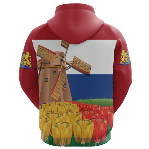 Netherlands Windmill and Tulips Zip Up Hoodie K4