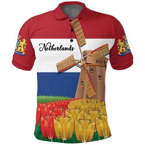Image of Netherlands Windmill and Tulips Polo Shirt K4