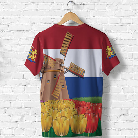 Image of Netherlands Windmill and Tulips T Shirt K4