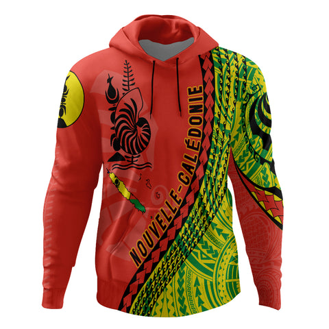 New Caledonia Hoodie - New Caledonia Hoodie with Map Generation IV - Red Mix - Front - For Men and Women