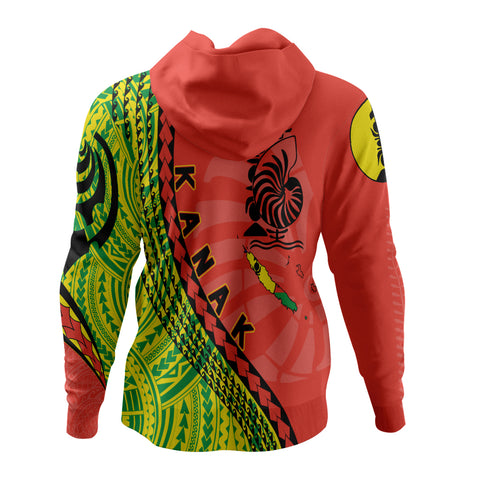 New Caledonia Zip Up Hoodie - New Caledonia Hoodie with Map Generation IV - Red Mix - Back - For Men and Women
