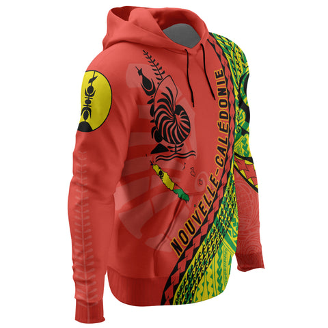 New Caledonia Hoodie - New Caledonia Hoodie with Map Generation IV - Red Mix - Right Sleeve - For Men and Women