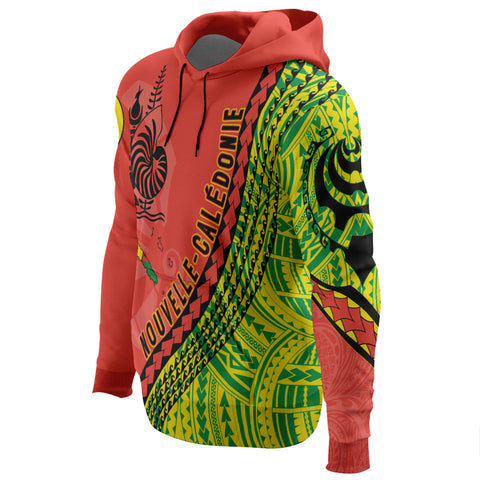 New Caledonia Hoodie - New Caledonia Hoodie with Map Generation IV - Red Mix - Left Sleeve - For Men and Women