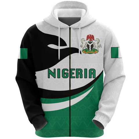 Nigeria Hoodie Zip Proud Version Front | 1sttheworld