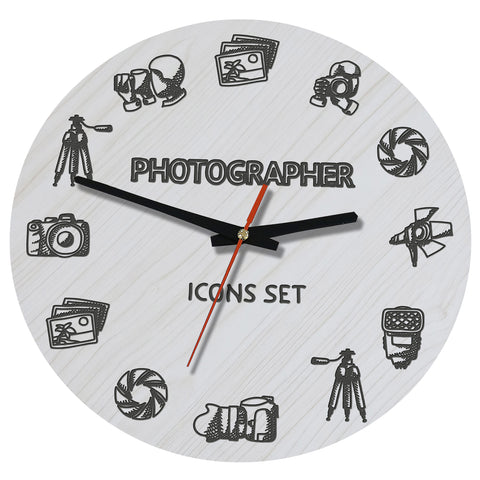 Image of Photographer, Wooden Wall Clock, Photographer Icons Wooden Wall Clock, Photographer Wooden Wall Clock, Photographer Icons Set, Photographer Icons, Photographer symbols