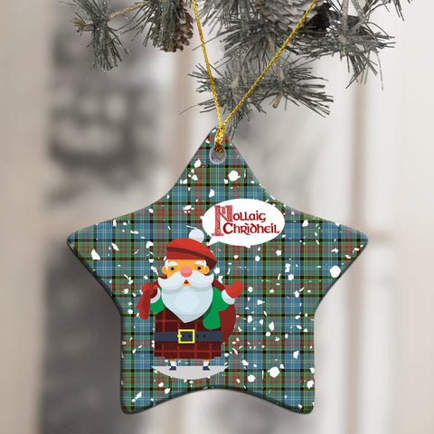 Image of Paisley District Tartan Christmas Ornament - Nollaig Chridheil Scottish Santa A7