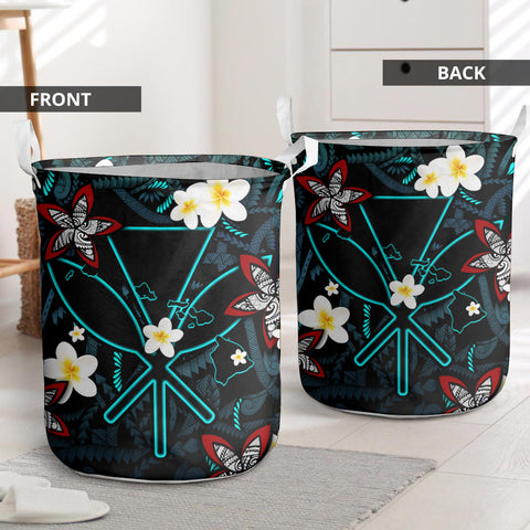 Kanaka Maoli (Hawaiian) Laundry Basket - Polynesian Plumeria Tattoo I Love The World