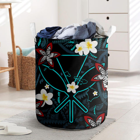 Image of Kanaka Maoli (Hawaiian) Laundry Basket - Polynesian Plumeria Tattoo I Love The World